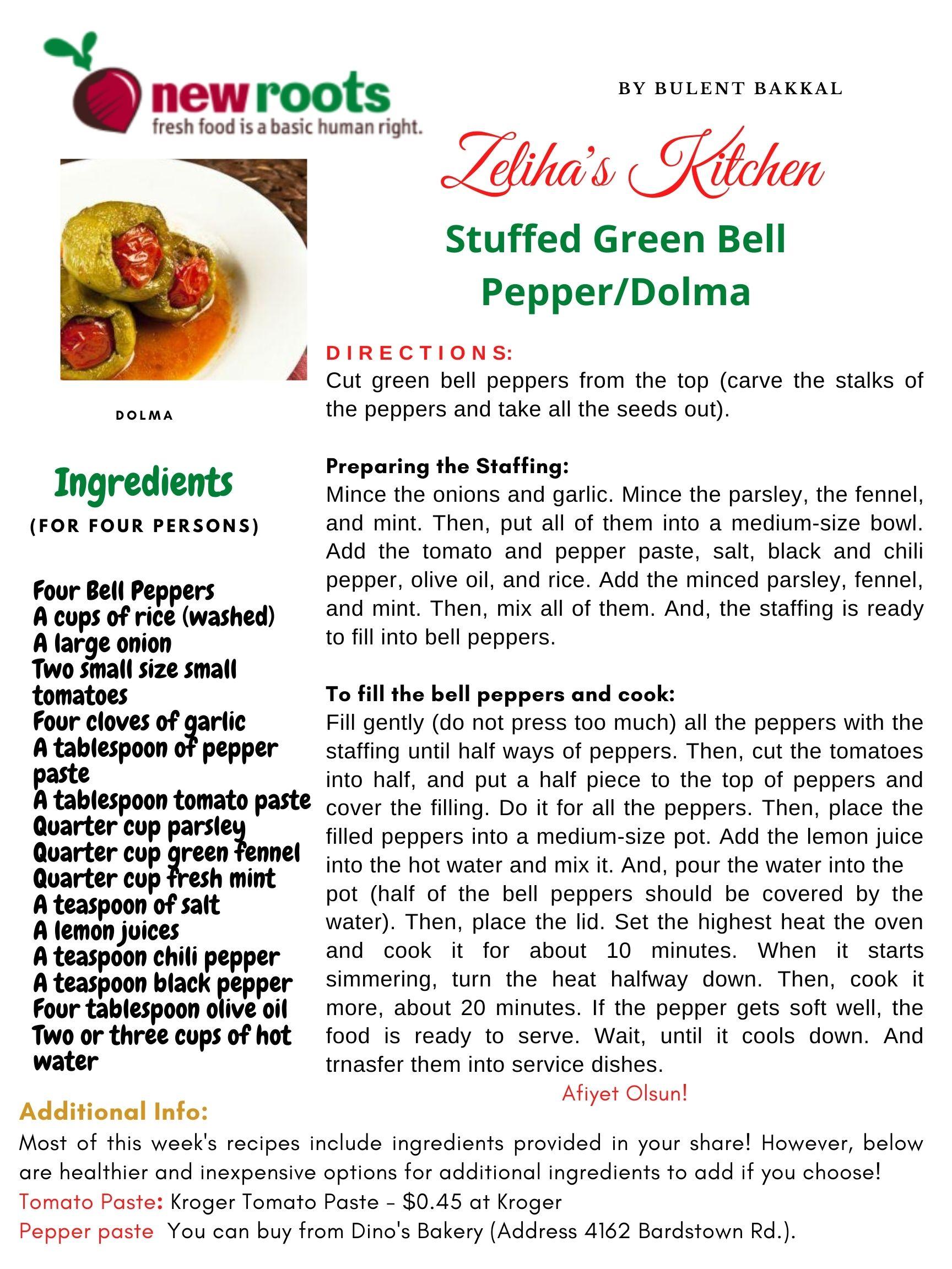 Zeliha's Kitchen-Stuffed Green Bell Pepper/Dolma Recipe