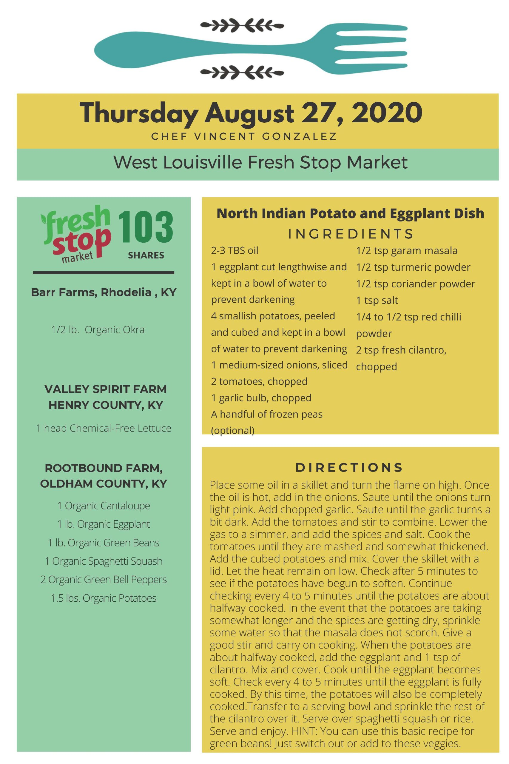 Fresh Stop Markets Food Recipes 8/25-27/2020