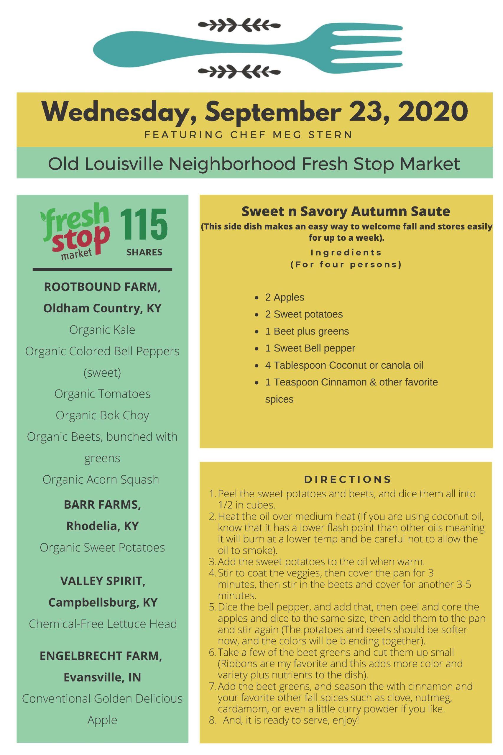 Fresh Stop Markets Food Recipes of 9/22-24/2020