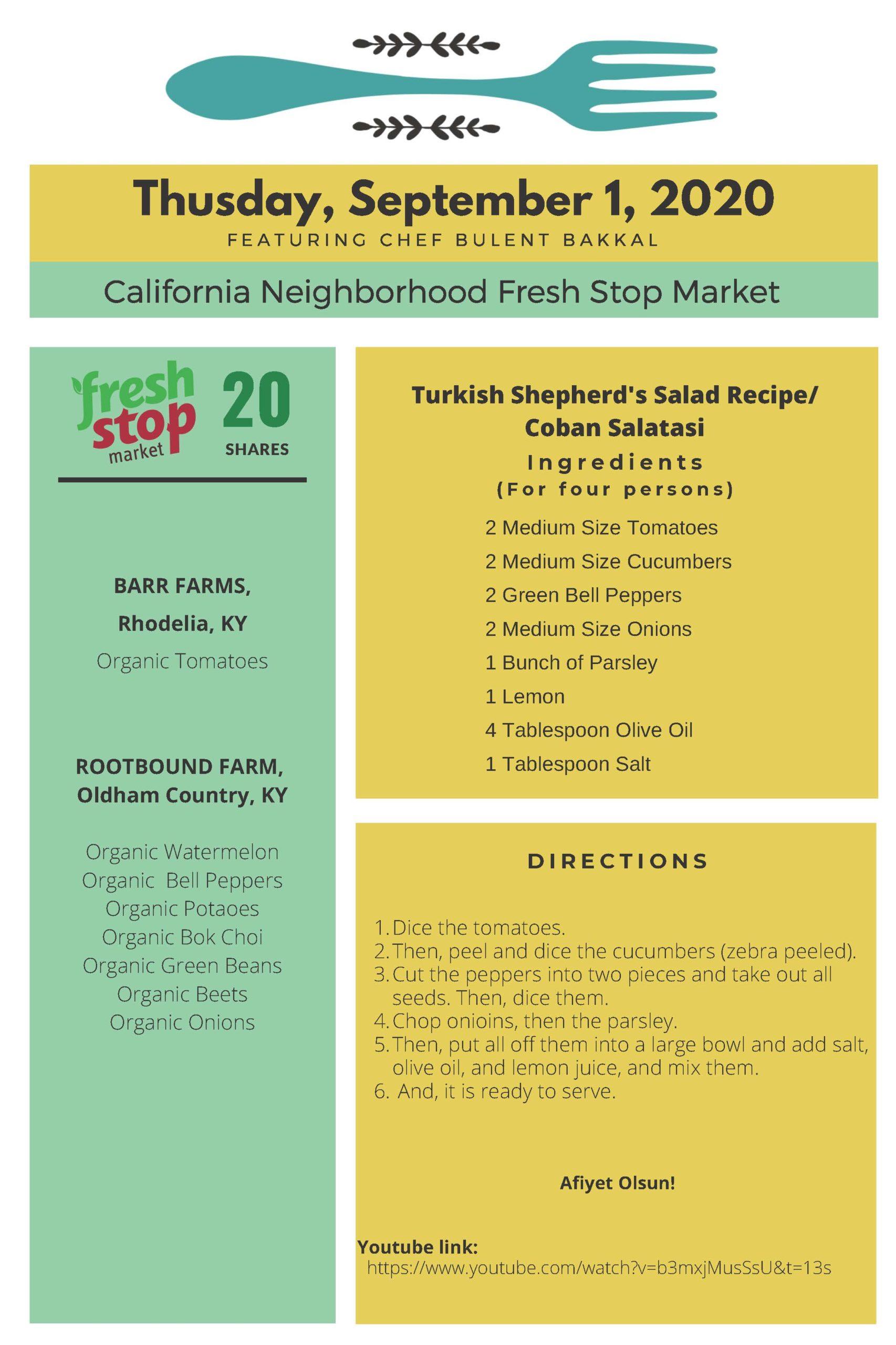 Fresh Stop Markets Food Recipes of 8/25-27/2020