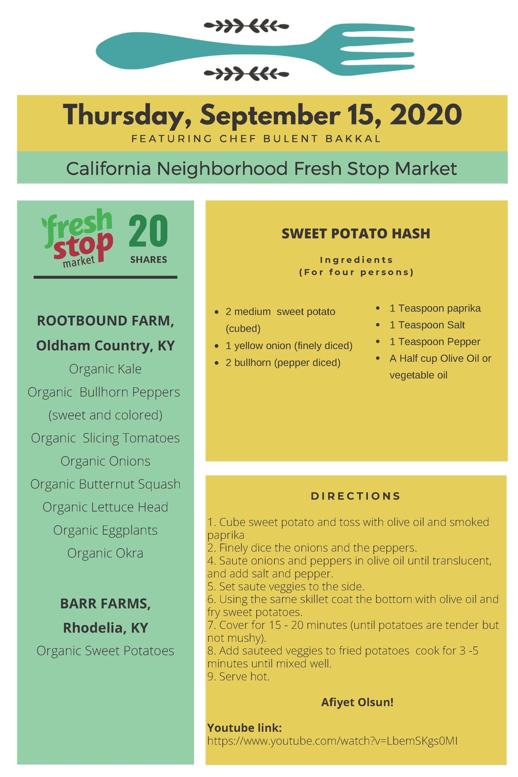 Fresh Stop Markets Food Recipes of 9/15-18/2020