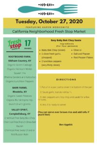 Fresh Stop Markets Food Recipes of 10/27-10/30/2020